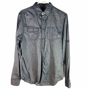 Guess Gray Casual Button Down Shirt Size s…